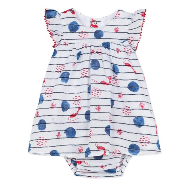 STRIPED VOILE AND NAVY PRINT DRESS AND BLOOMERS