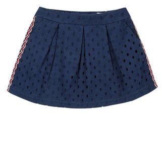 SKIRT  IN BRODERIE ANGLAIS AND BRAID