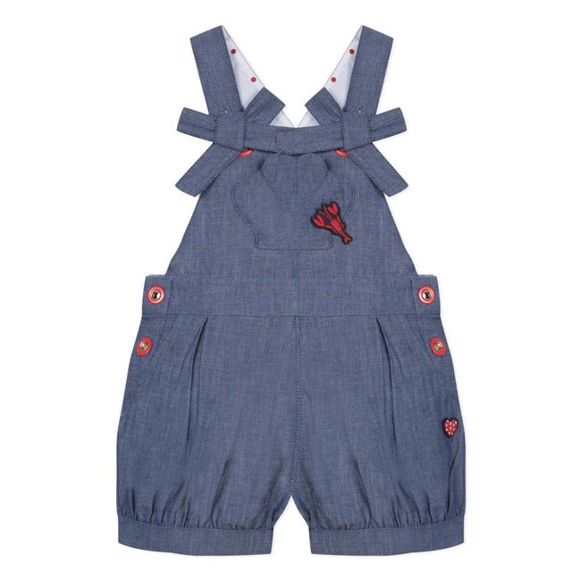 SHORT CHAMBRAY DUNGAREES WITH MARINE DETAILS