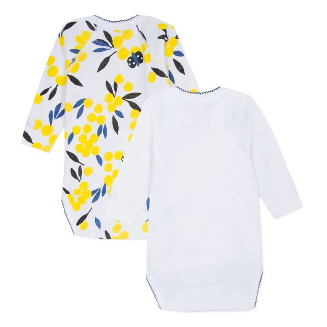 SET OF 2 MIMOSA PRINT CROSSOVER BODYSUITS