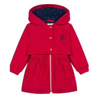 RED COATED COTTON PARKA WITH HOOD