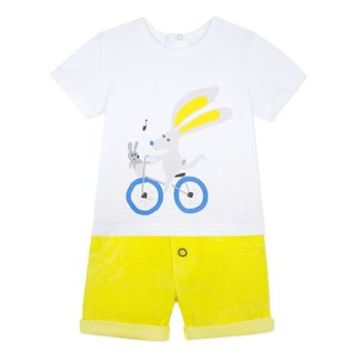 RABBIT PRINT T-SHIRT AND TERRYCLOTH SHORTS