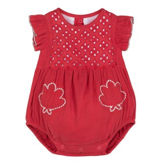 PLAYSUIT IN BRODERIE ANGLAIS AND RED GAUZE