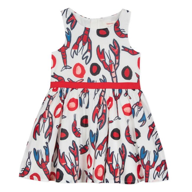 LOBSTER PRINTED VOILE DRESS
