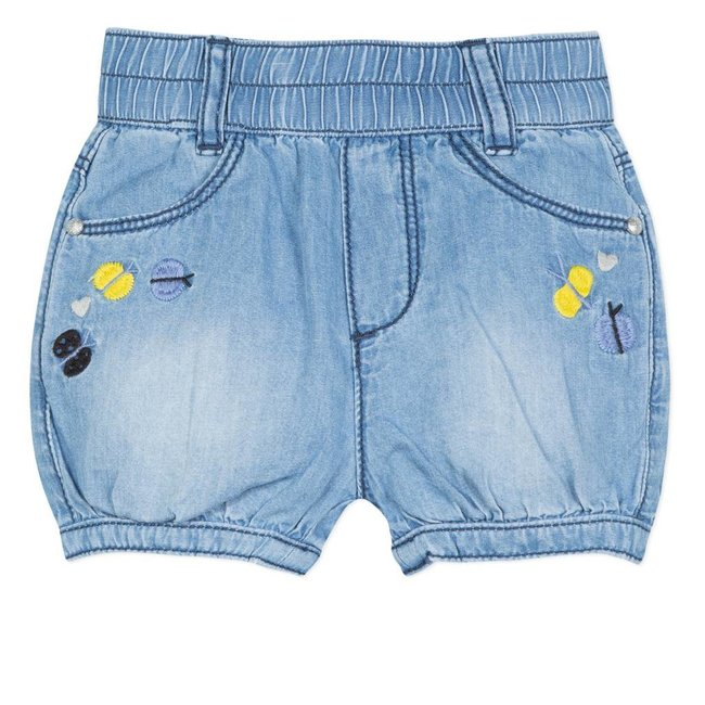 LIGHT DENIM SHORTS WITH EMBROIDERED BUTTERFLIES