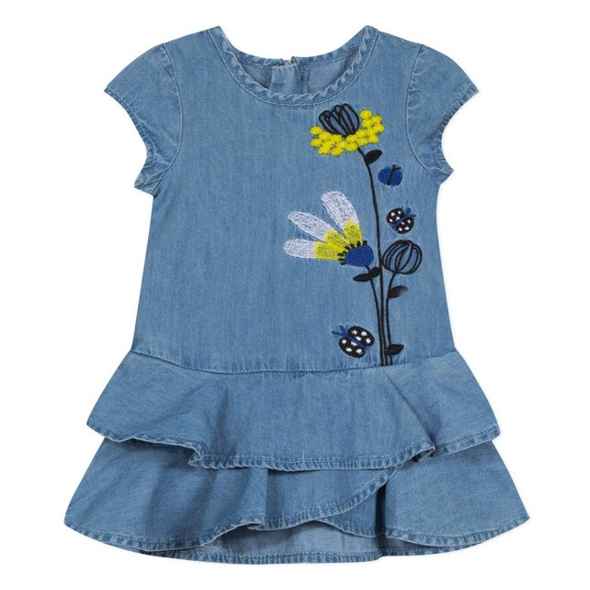 CATIMINI LIGHT DENIM DRESS WITH EMBROIDERED MIMOSAS