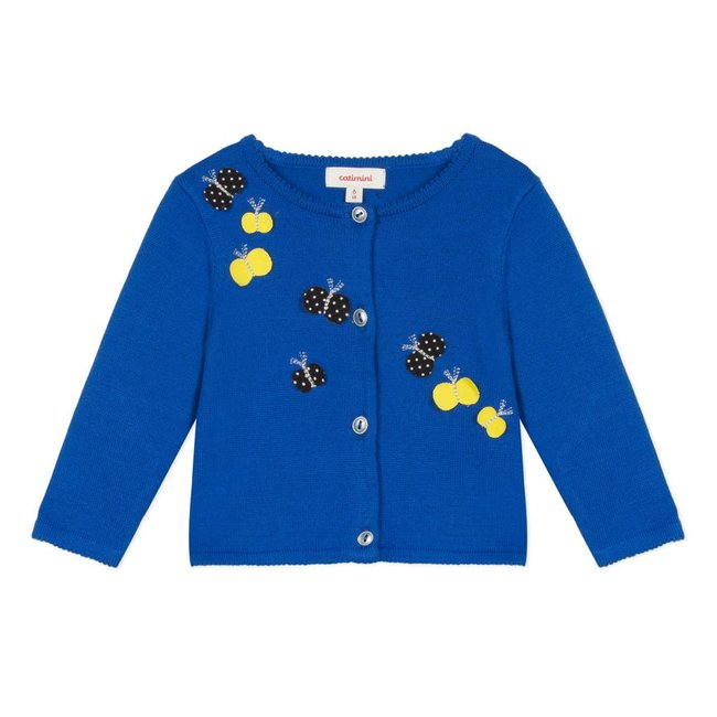 KNITTED ROYAL BLUE COTTON CARDIGAN WITH BUTTERFLY PATCHES