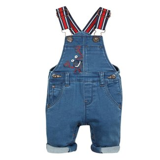 KNIT DENIM DUNGAREES WITH LOBSTER MOTIF
