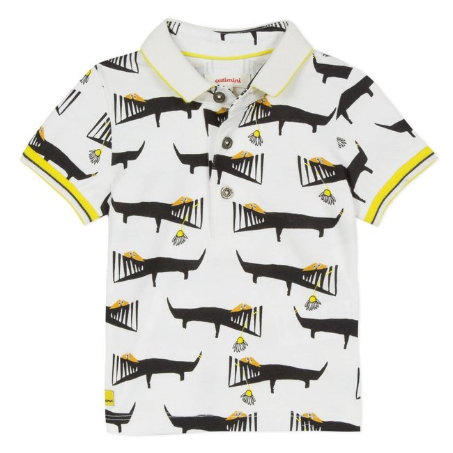CATIMINI JERSEY POLO SHIRT WITH CROCODILE PRINT