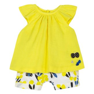 GAUZE TOP WITH MIMOSA PRINT SHORTS