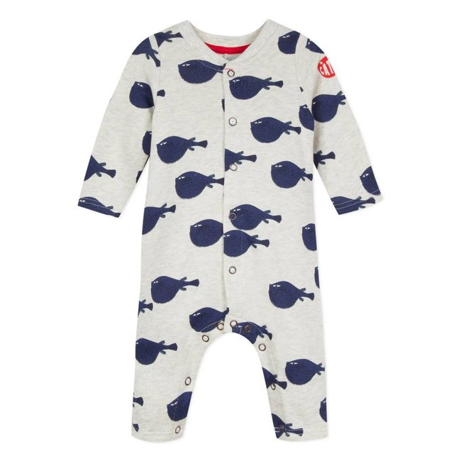 FLEECY JUMPSUIT WITH FISH PRINT