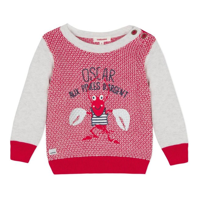 FANCY KNIT JUMPER IN TWO MATERIALS WITH LOBSTER MOTIF