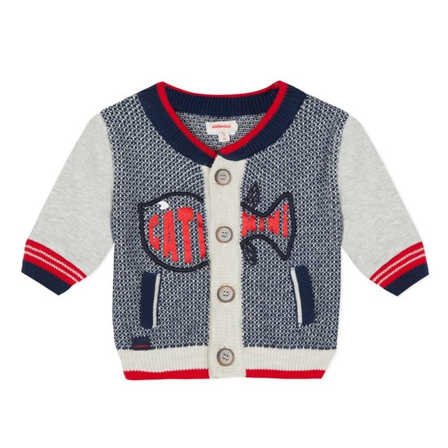 FANCY KNIT CARDIGAN IN TWO MATERIALS WITH FISH MOTIF