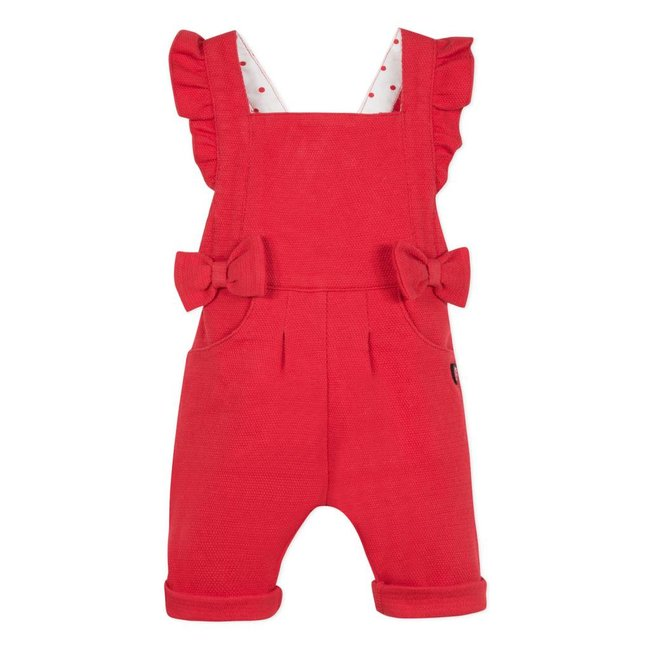 DUNGAREES IN PIQUÉE KNIT WITH RUFFLES AND BOWS