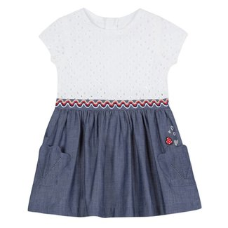 DRESS IN TWO MATERIALS, BRODERIE ANGLAIS AND CHAMBRAY
