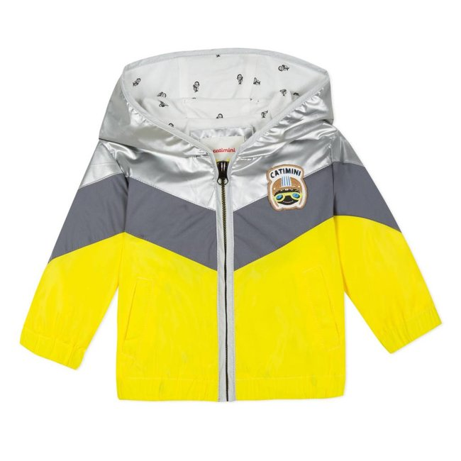 COLOUR BLOCK HOODED WATER-RESISTANT JACKET