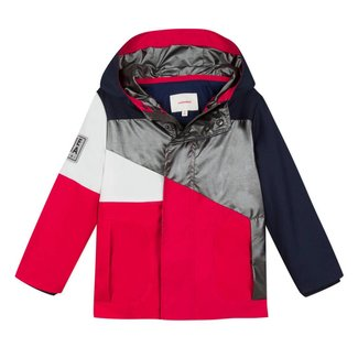 COLOUR BLOCK COATED PARKA WITH HOOD
