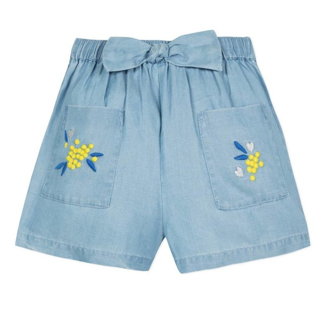 BLEACHED DENIM SHORTS WITH EMBROIDERED MIMOSAS