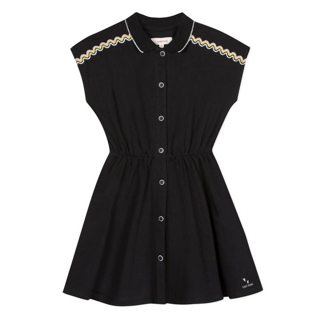 BLACK PIQUÉ TENNIS SHIRT DRESS
