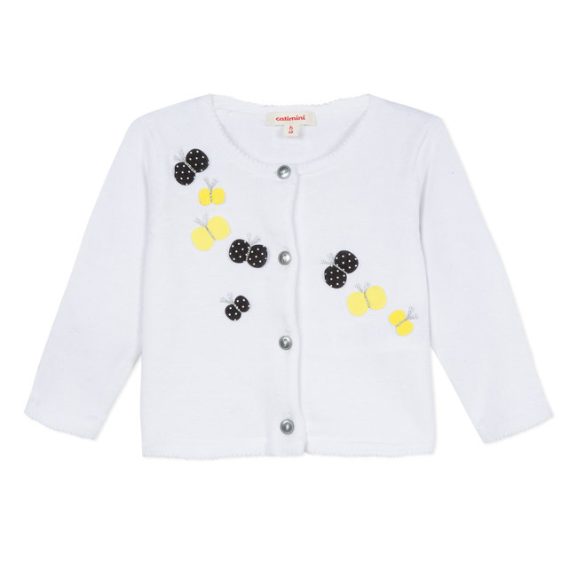 KNITTED WHITE COTTON CARDIGAN WITH BUTTERFLY PATCHES