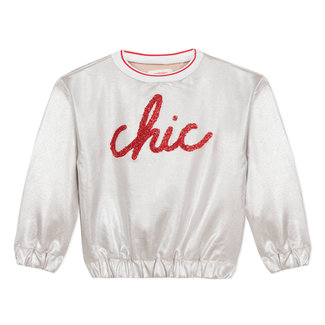 GLITTER COATED SWEATSHIRT WITH MESSAGE
