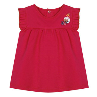 RED T-SHIRT WITH RUFFLED SLEEVES