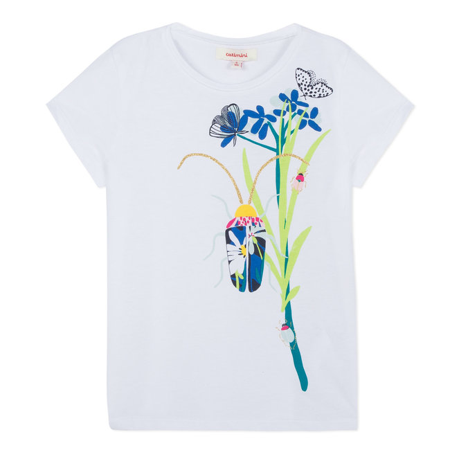 WHITE T-SHIRT WITH FLORAL BEETLE MOTIF