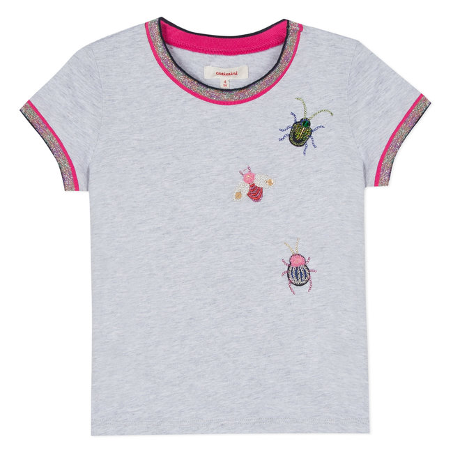 T-SHIRT WITH JEWELLED BEETLE EMBROIDERIES