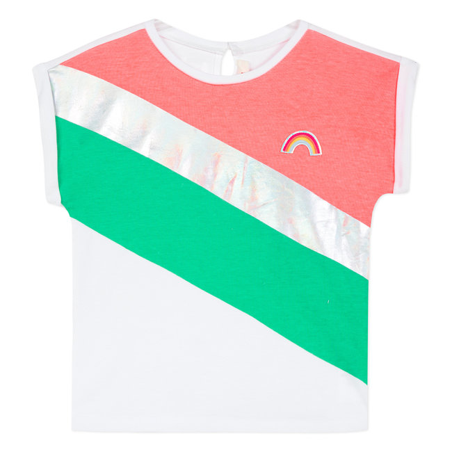 T-SHIRT WITH HOLOGRAPHIC COLOURBLOCK STRIPES