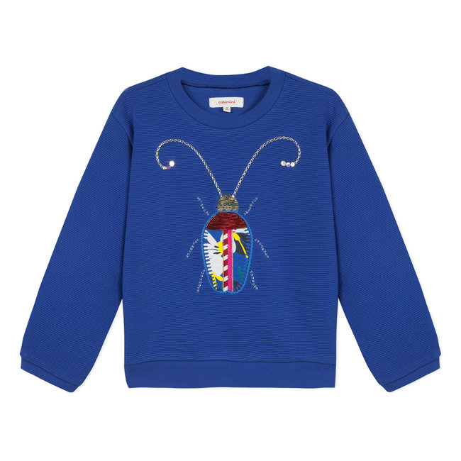 FANCY KNIT SWEATER WITH JEWELLED BEETLE PATCH