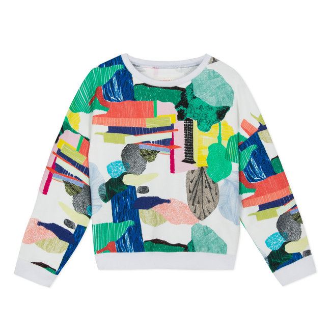 PLAYFUL PRINTED FLEECE SWEATSHIRT WITH COLOURFUL PRINT