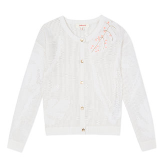 WHITE EMBROIDERED OPENWORK CROCHET KNIT CARDIGAN