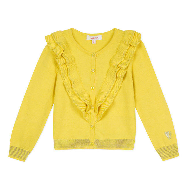 CATIMINI YELLOW RUFFLED COTTON CARDIGAN