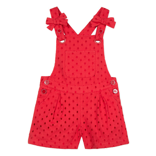 SHORT DUNGAREES IN BRODERIE ANGLAIS