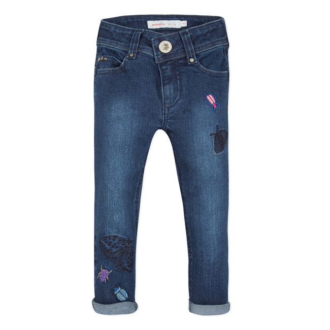 CATIMINI EMBROIDERED STRETCH DENIM SKINNY JEANS
