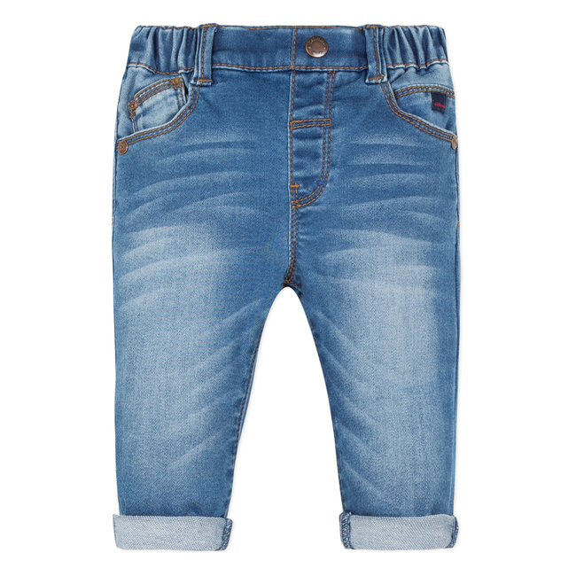 5-POCKET KNITTED STONEWASHED DENIM JEANS