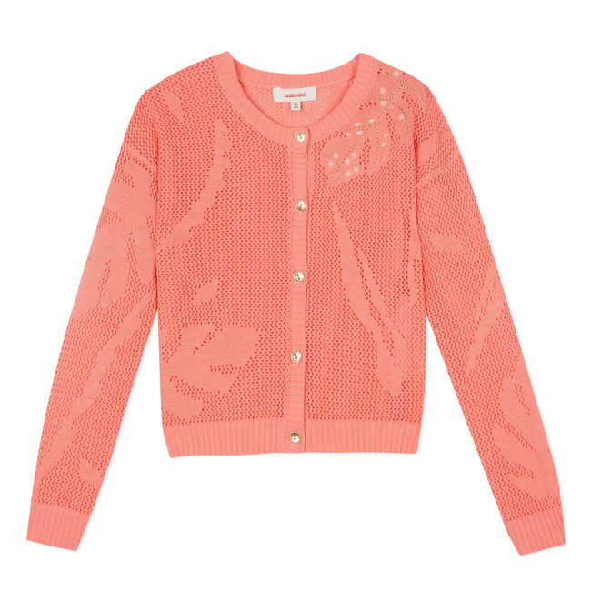 FLUO PINK EMBROIDERED OPENWORK CROCHET-STYLE KNIT CARDIGAN