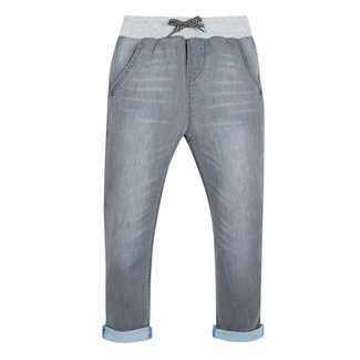 GREY KNITTED DENIM JEANS WITH FABRIC WAISTBAND