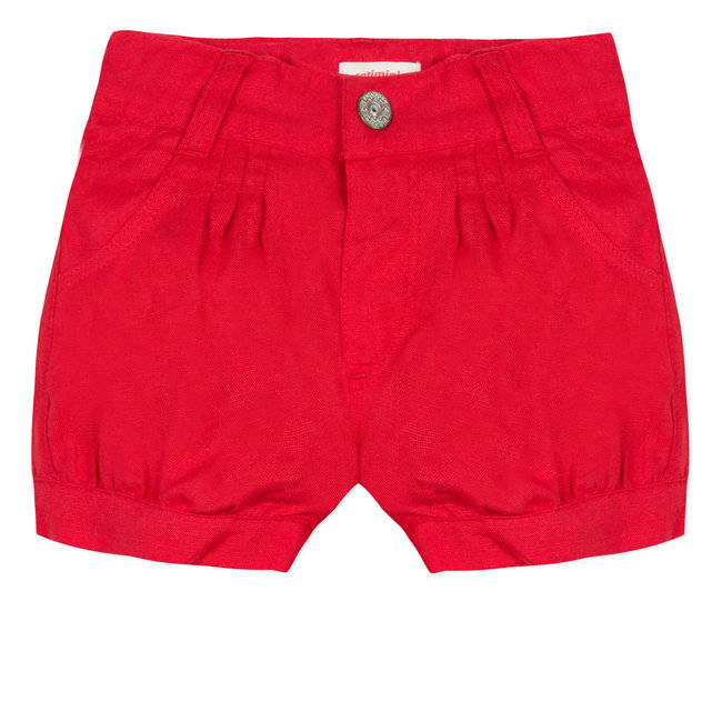 RED LINEN PLEATED SHORTS