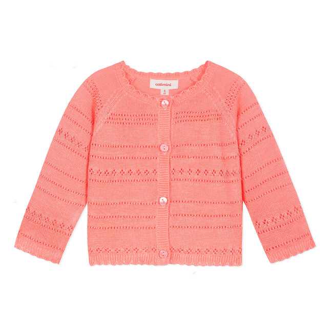 SHINY FLUORESCENT PINK OPENWORK KNIT CARDIGAN