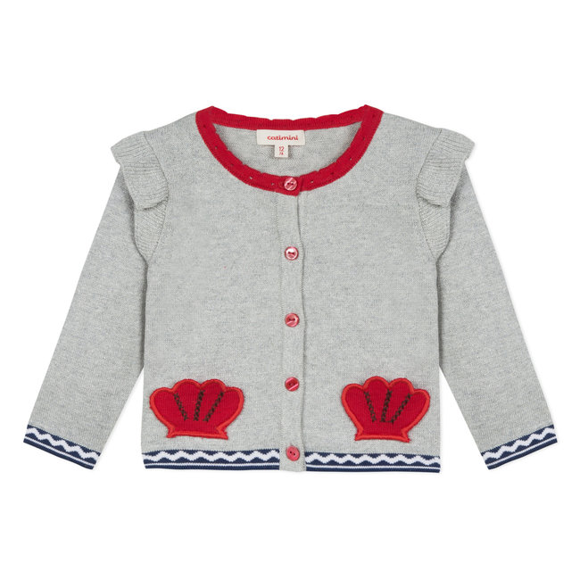 SHINY KNITTED CARDIGAN WITH RUFFLES
