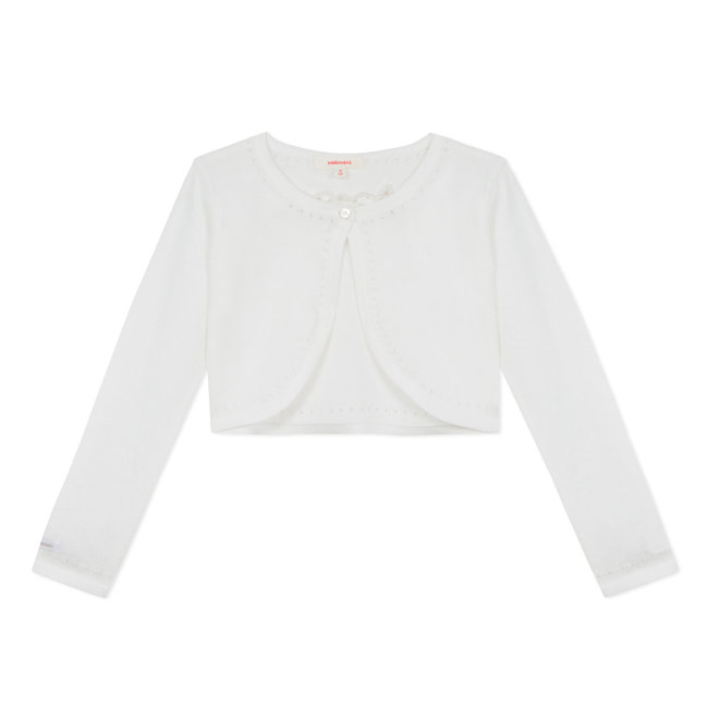 CATIMINI OFF-WHITE KNITTED BOLERO WITH OPENWORK MOTIF ON THE BACK