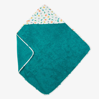 BATH CAPE IN EMERALD BLUE TOWELLING