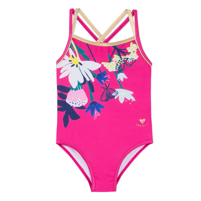 1-PIECE SWIMSUIT WITH A PLANT PRINT