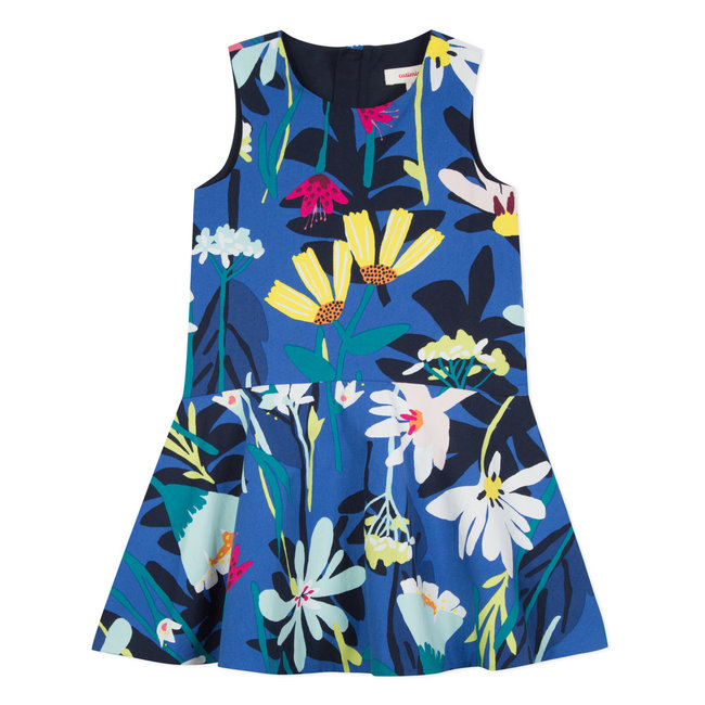CATIMINI DRESS WITH PLANT PRINT IN POPLIN TWILL