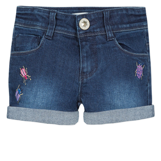 CATIMINI EMBROIDERED DENIM SHORTS