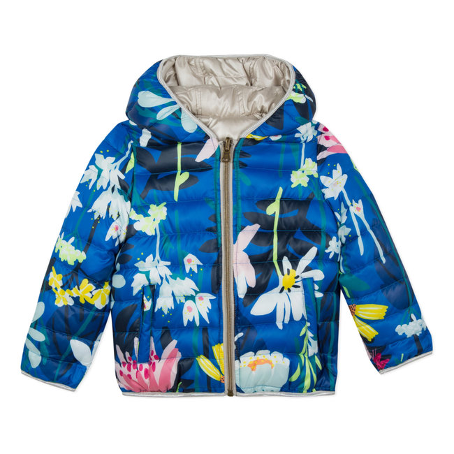 CATIMINI LIGHT REVERSIBLE JACKET WITH A PLANT PRINT