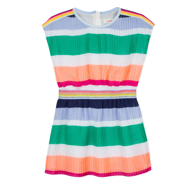 PLEATED DRESS WITH MULTICOLOURED STRIPES