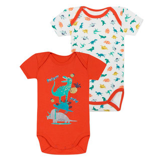SET OF 2 BODYSUITS WITH DINOSAUR DESIGN