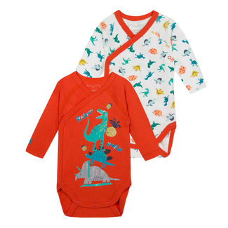 SET OF 2 BODYSUITS, DOUBLE-BREASTED, DINOSAUR PRINT.